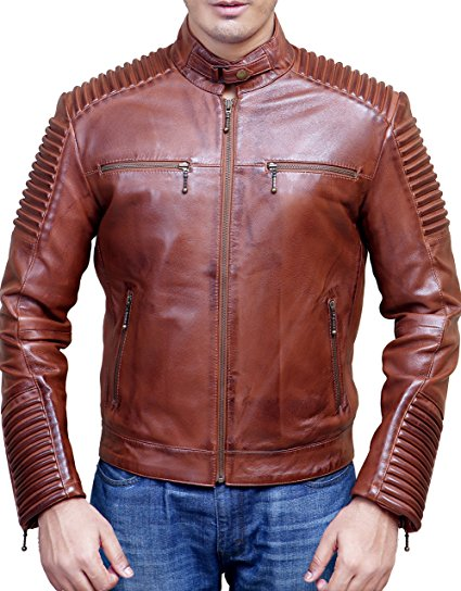 Men S Biker Vintage Style Cafe Racer Wax Distressed Brown Leather