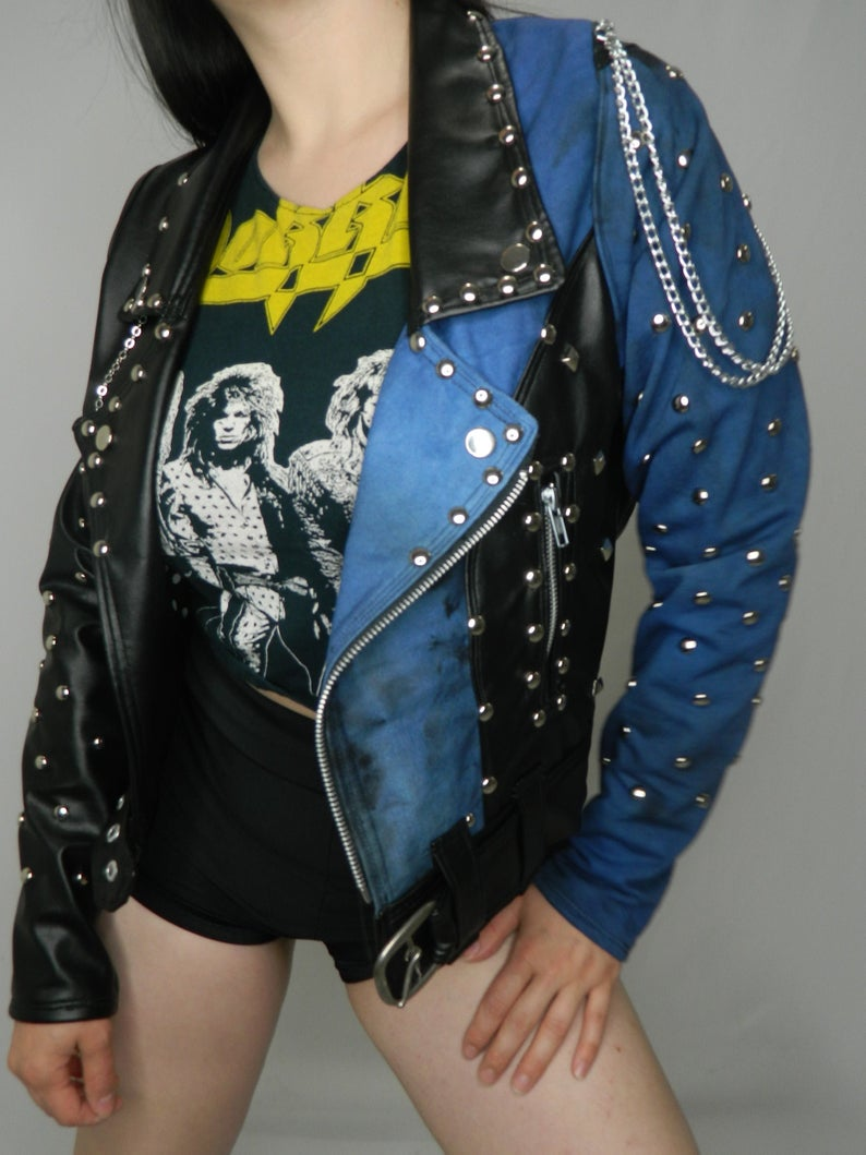 Black faux leather and deep blue distressed denim studded moto style jacket