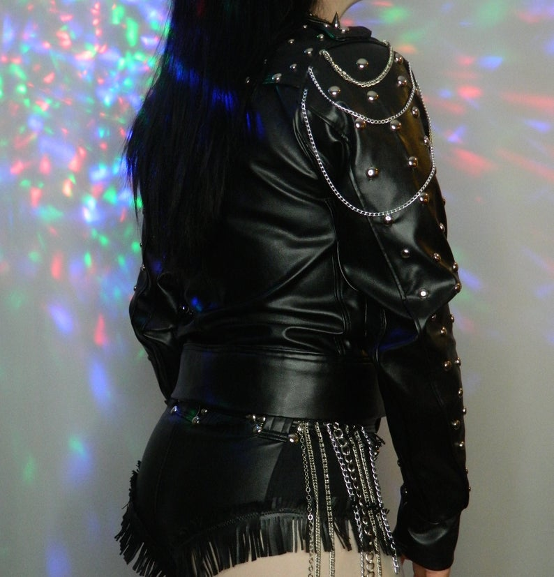 Black Leather Studded With Chains