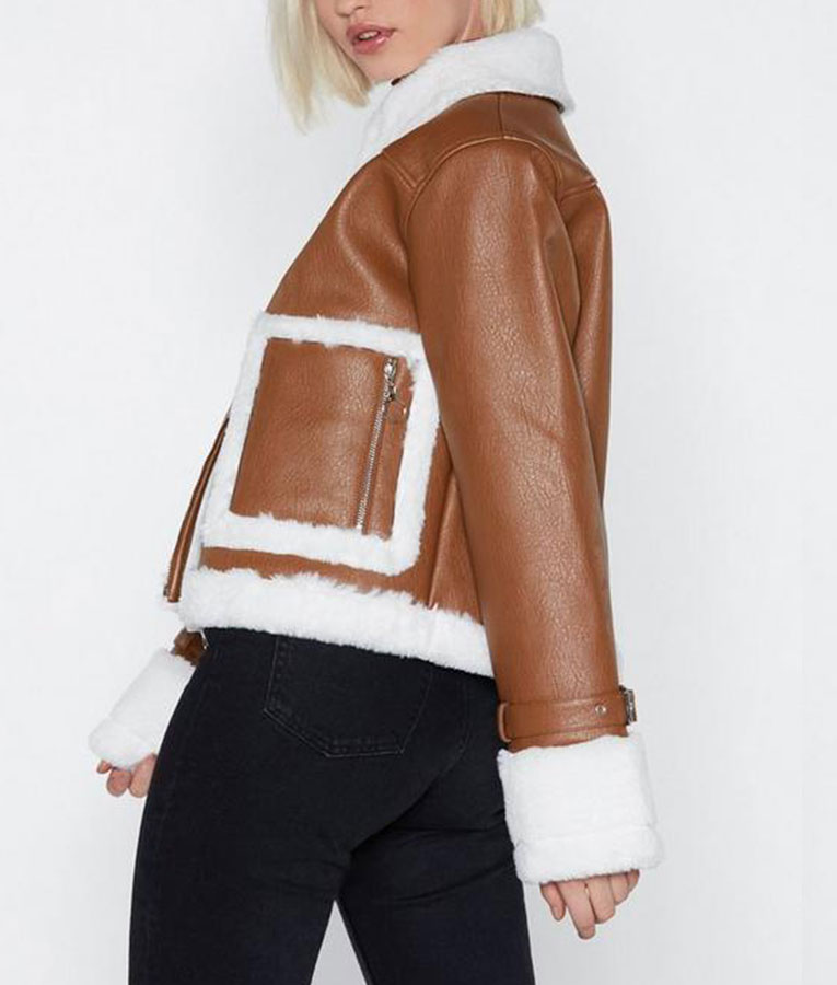 Brown Cropped Shearling Zipper Jacket