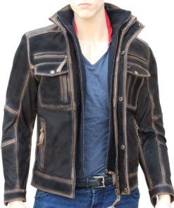 Brown Distressed Modified Leather Jacket For Men