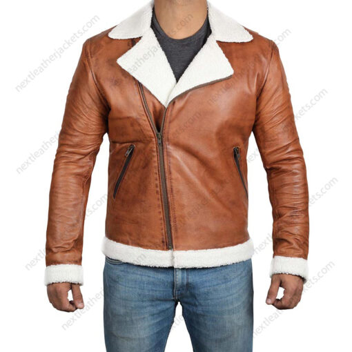 Clemon Brown Leather Mens Real Shearling Jacket