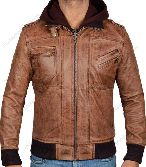Real Leather Brown Hooded Jacket Men Edinburgh in Bomber Style