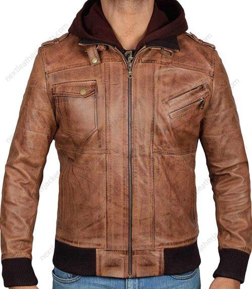 Real Leather Brown Hooded Jacket Men Edinburgh in Bomber Style