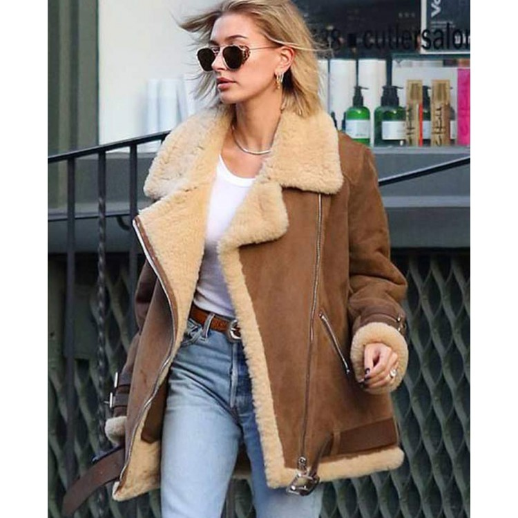 Hailey Baldwin Winter Shearling Jacket