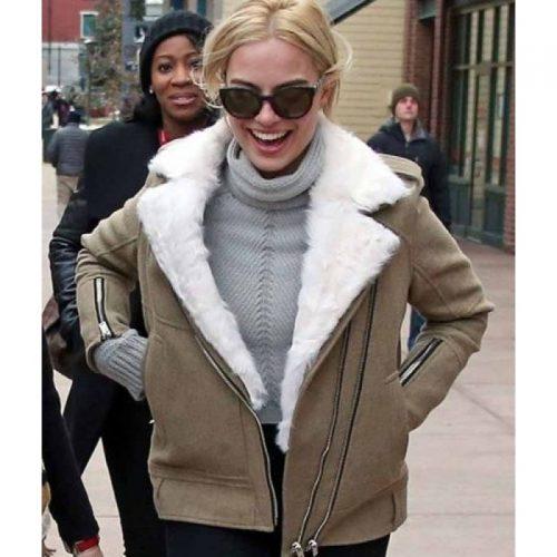Margot Robbie Grey Aviator Fur Jacket For Women