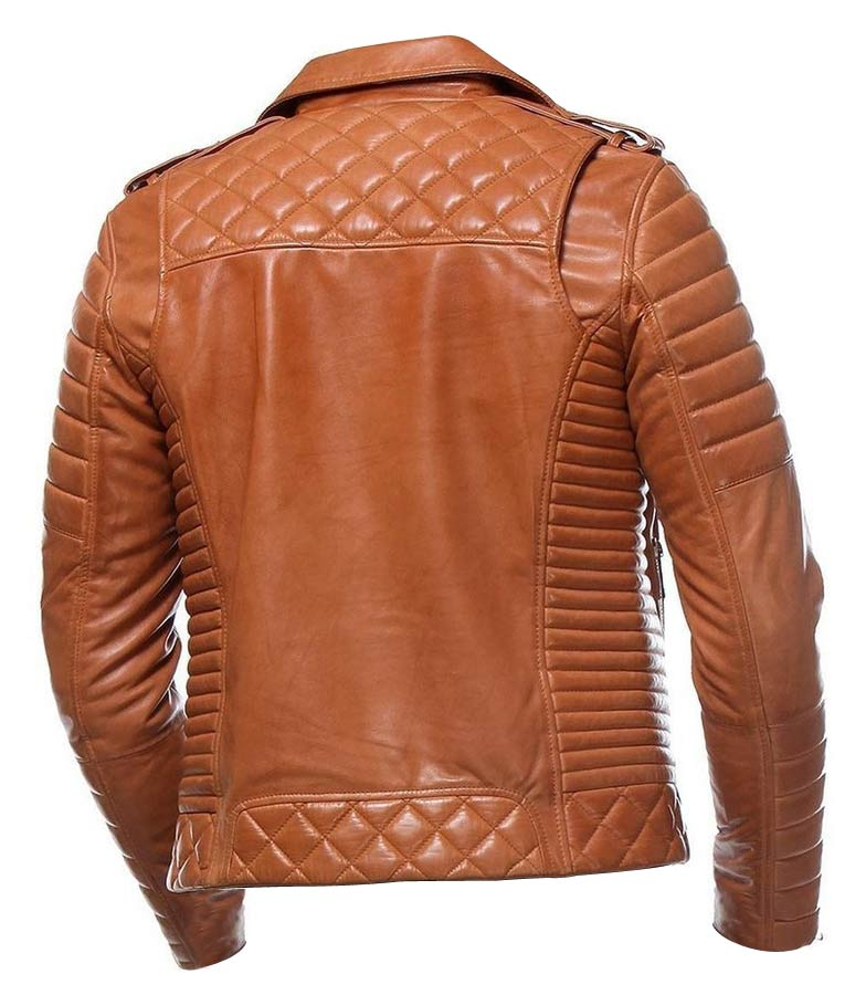 Mens Classic Motorcycle Tan Leather Jacket