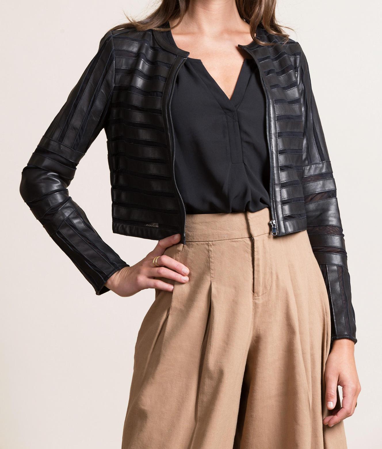 Women Black Biker Patch Jacket