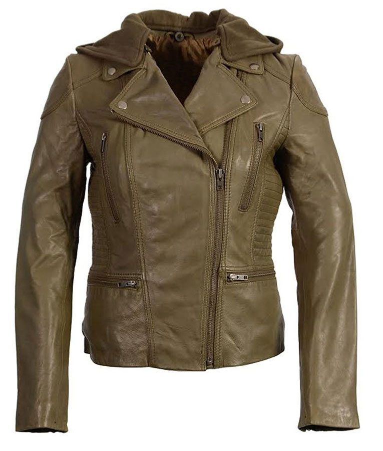 Womens Zip Off Hooded Olive Motorcycle Leather Jacket