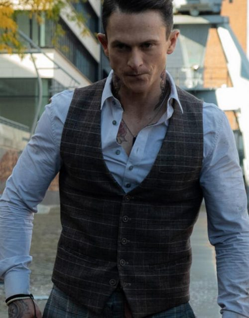 Charlie's Angels Jonathan Tucker Brown Checkered Vest