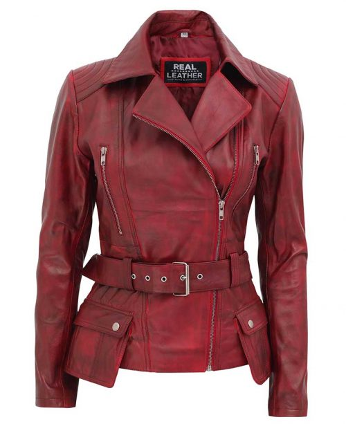 Victoria Womens Burgundy Moto Jacket
