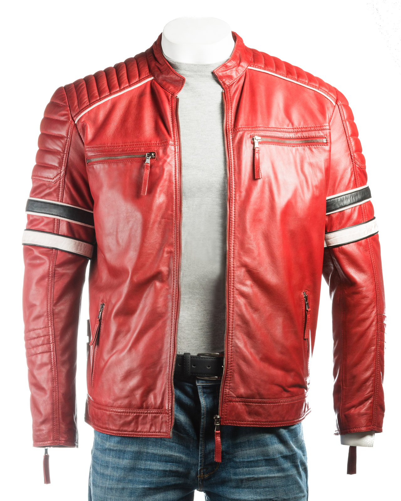 Men S Red Racing Biker Style Leather Jacket Red Color