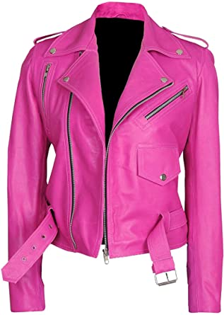 Jessica-Alba-Hot-Pink-Leather-Jacket