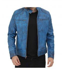 Cafe-Racer-Dodge-Sky-Blue-Leather-Jacket