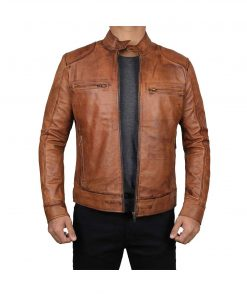 Men-Motorcycle-Brown-Leather-Jacket