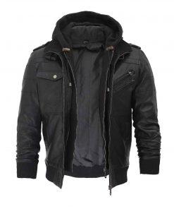 Men_lack_hooded_leather_jacket